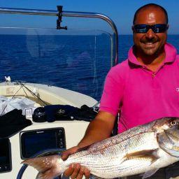 fishing boat AL CUSTOM AL19: dentice a traina col vivo. Fishing, fishing tackle e fisherman
