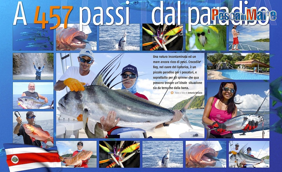 A pesca in Costarica a Crocodile Bay: Cubere, roosterfish, pesci vela, cernie e barracuda.