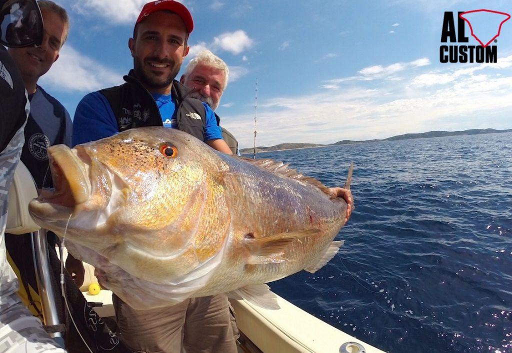 """Dentice a traina col vivo. Il team """"Malefica"""", sulla fishing boat ALCUSTOM AL25, a pesca in Crozia."""