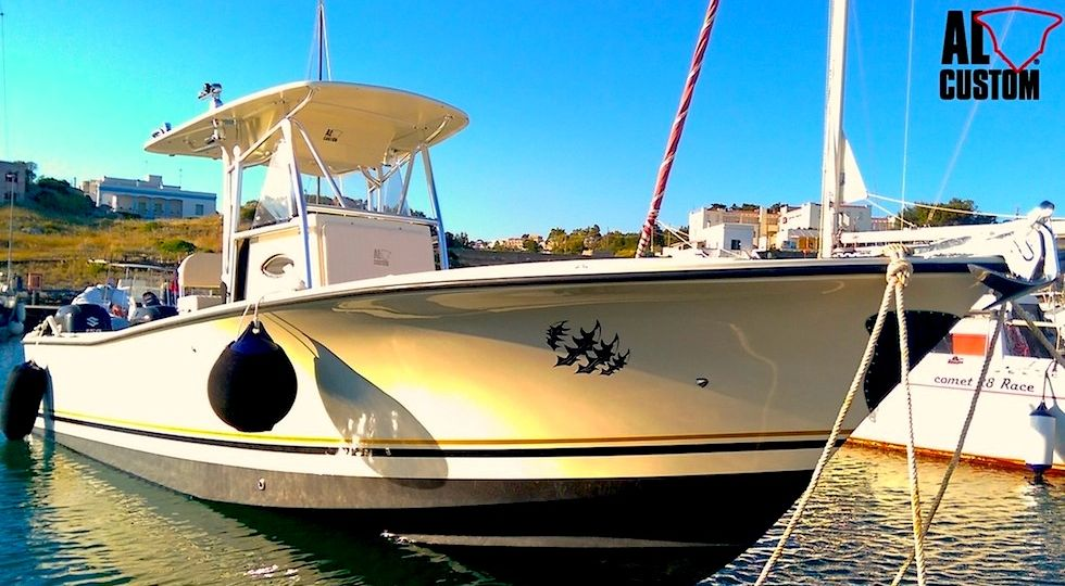 "Fishing boat ALCUSTOM AL25 ""Raptor"", motorizzata Suzuki 2x150 TG, elettronica Raymarine."