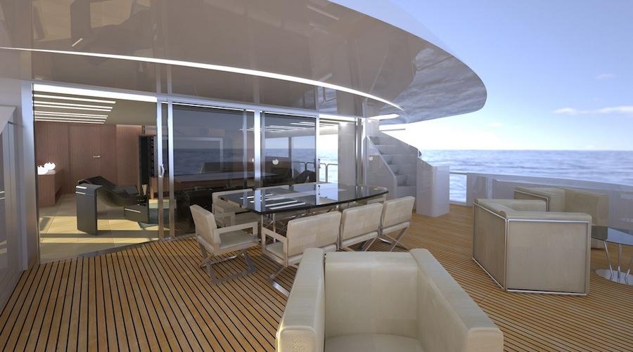 Yacht Nemo 44: creato da Aldo Manna, disegnato da Fulvio de Simoni, costruito nei cantieri Ocea. Fishing boat ALCUSTOM fra gli optional