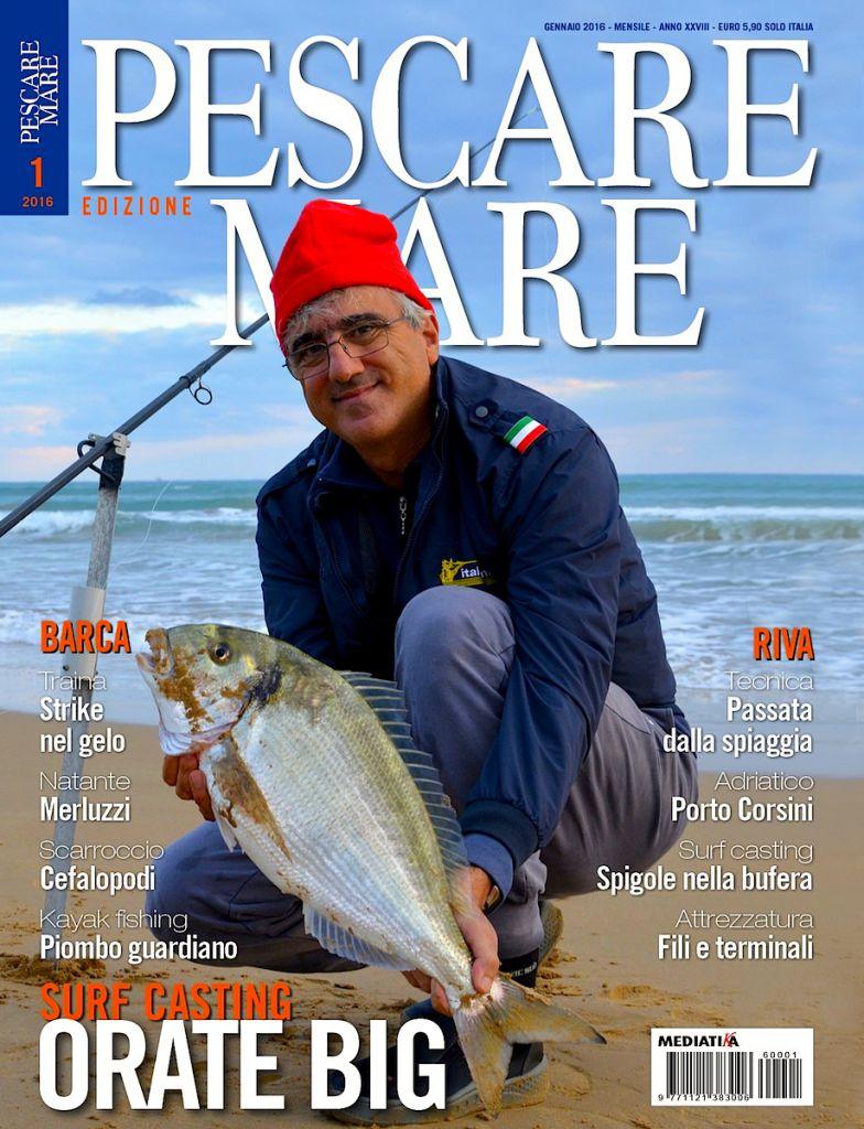 PESCARE MARE - Anteprima del numero di gennaio 2016. Rivisita di fishing tackle, fishing boat e fisherman.