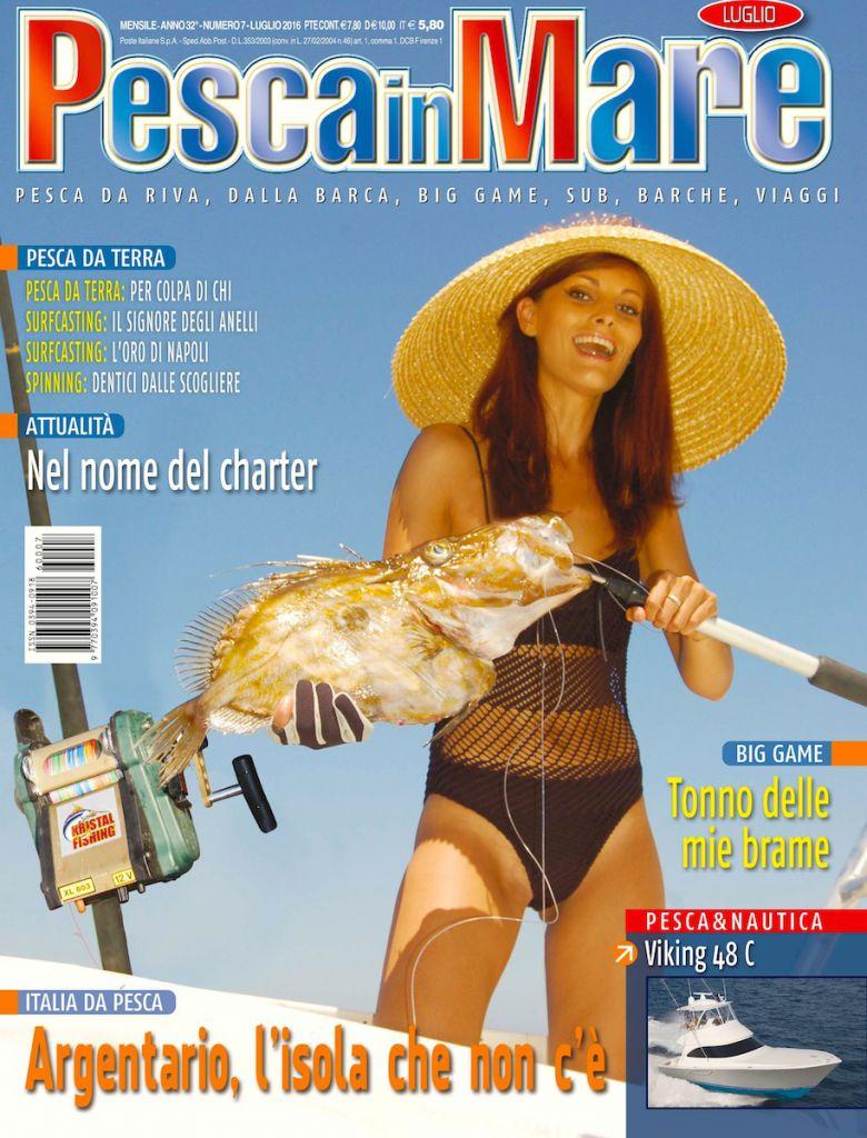 PESCA in MARE, rivista mensile dedicato alla pesca sportiva in mare. Copertina del numero di luglio 2016 in edicola.