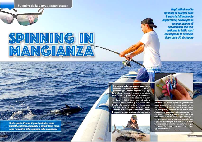 Spinning in mare sulle mangianze di tonni. Pesca a spinning. Tonni in mangianza