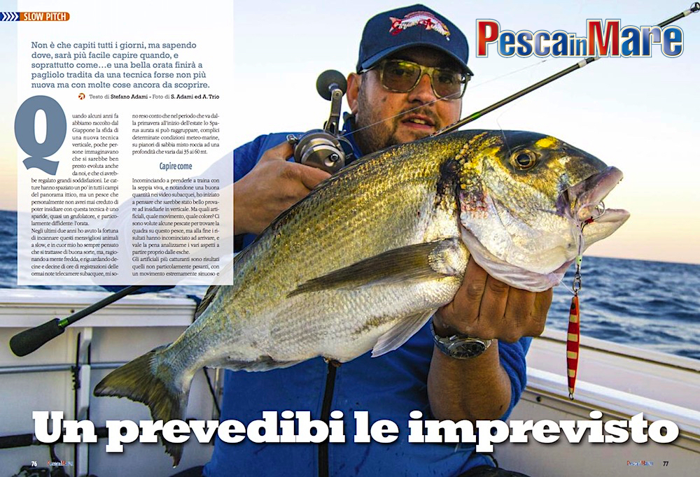 Slow pitch per le orate: tecnica di pesca e fishing tackle.