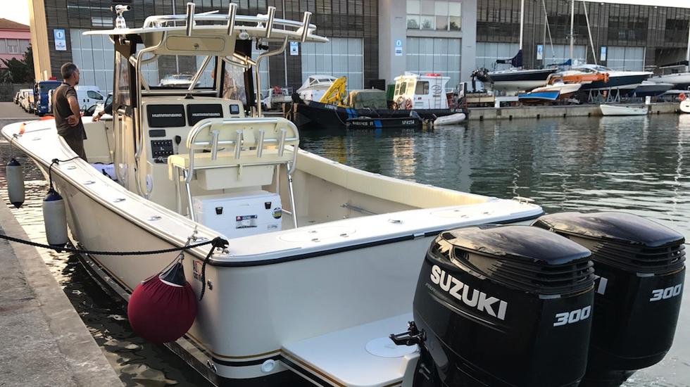 "Fishing boat ALCUSTOM AL30 Cuddy: fuoribordo Suzuki 2x300HP, elettronica Humminbird Helix 12"""