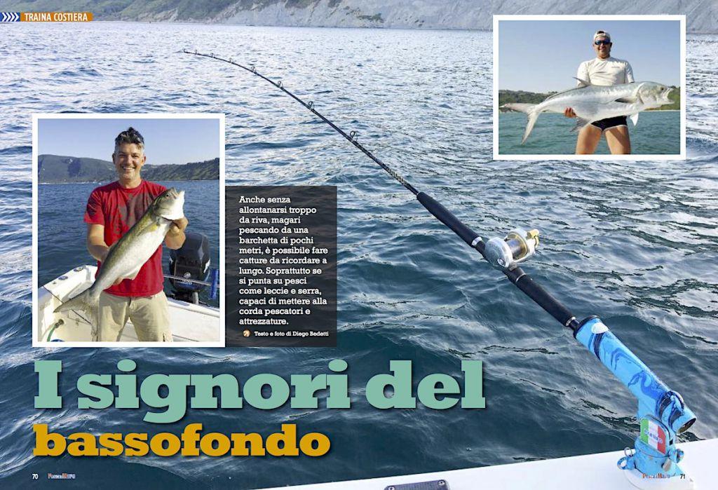 Traina costiera: a pesca sul bassofondo. Pesca a traina sul bassofondo.