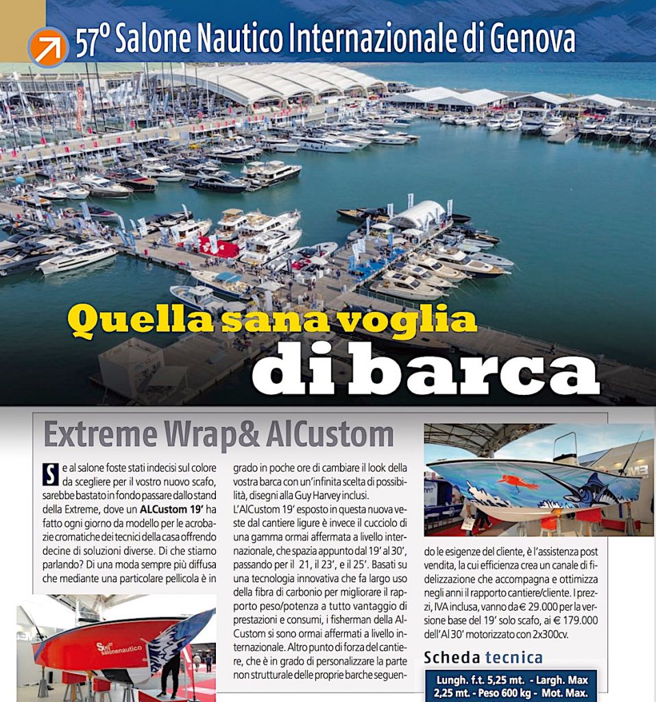 57° Salone Nautico Internazionale di Genova: ExtremeWrap ed ALCUSTOM insieme